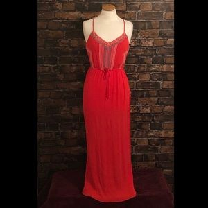 Lily Rise Coral Embroidered Maxi Dress Medium